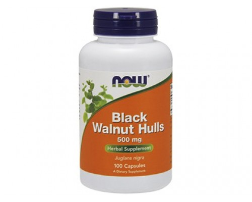 Черный Орех 500 мг, Black Walnut Hulls NOW Foods, 100 капсул